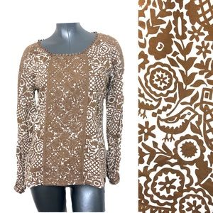 Tory Burch Bird Pattern Embroidered Lace Blouse